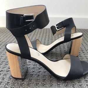 Michael Kors black and wood heels
